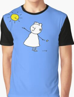 Happy singing stick lady wearing high heels, with smiling sun and star Graphic T-Shirt