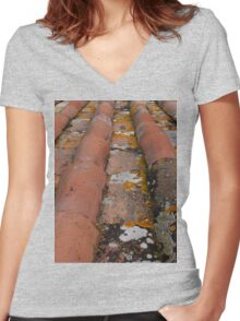 italian roof Women's Fitted V-Neck T-Shirt