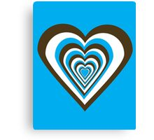 Chocolate Brown, White and Turquoise Hearts Canvas Print
