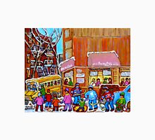 BEAUTY'S LUNCHEONETTE WITH YELLOW SCHOOL BUS IN WINTER Unisex T-Shirt