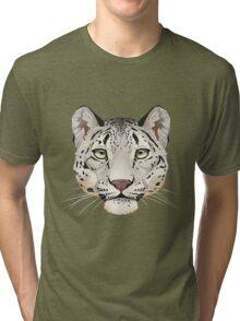 Snow Leopard Face Tri-blend T-Shirt