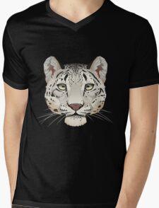 Snow Leopard Face Mens V-Neck T-Shirt