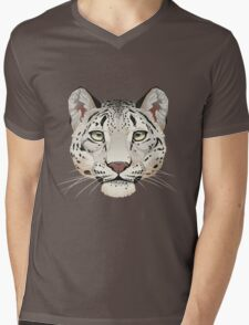 Snow Leopard Face Mens V-Neck T-Shirt