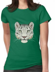 Snow Leopard Face Womens Fitted T-Shirt