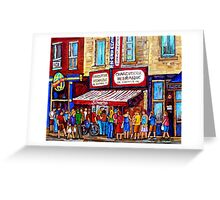SCHWARTZ'S DELI SMOKED MEAT SANDWICHES MONTREAL Greeting Card