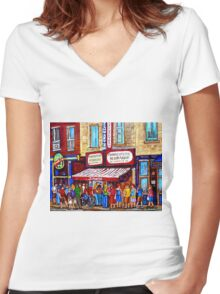 SCHWARTZ'S DELI SMOKED MEAT SANDWICHES MONTREAL Women's Fitted V-Neck T-Shirt