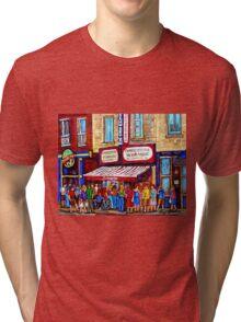 SCHWARTZ'S DELI SMOKED MEAT SANDWICHES MONTREAL Tri-blend T-Shirt