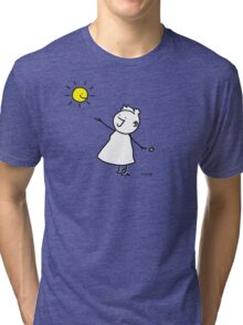 Happy singing stick lady wearing high heels, with smiling sun and star Tri-blend T-Shirt