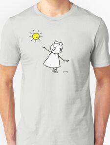 Happy singing stick lady wearing high heels, with smiling sun and star Unisex T-Shirt