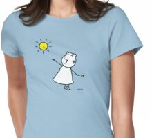 Happy singing stick lady wearing high heels, with smiling sun and star Womens Fitted T-Shirt