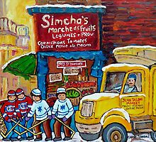 SIMCHA'S GROCERY STORE VINTAGE MONTREAL CANADIAN PAINTING by Carole  Spandau