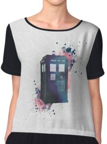 Doctor Who - TARDIS - geometrical - watercolor Chiffon Top