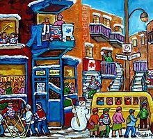 WILENSKY'S LUNCH COUNTER MONTREAL WINTER FUN IN NEIGHBORHOOD CANADIAN ART by Carole  Spandau