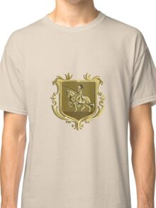 Knight Riding Steed Lance Coat of Arms Retro Classic T-Shirt