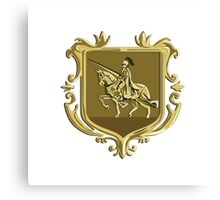 Knight Riding Steed Lance Coat of Arms Retro Canvas Print