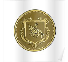 Knight Riding Steed Lance Coat of Arms Medallion Retro Poster