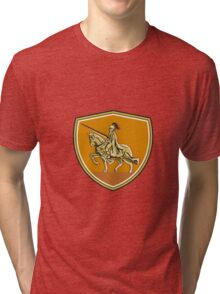 Knight Riding Steed Lance Shield Retro Tri-blend T-Shirt