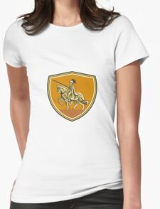 Knight Riding Steed Lance Shield Retro Womens Fitted T-Shirt