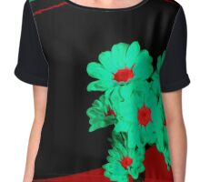 Red Black and Green Chiffon Top