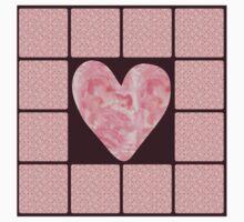 Pink Polka Dot Heart  One Piece - Short Sleeve