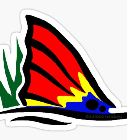 Red Fish Tail in Grass Sticker