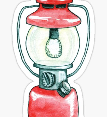 Red Camping Lantern Sticker -Watercolor Illustration Sticker