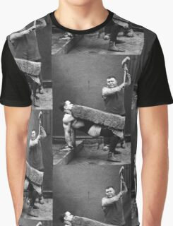 Strong Man with Slab and Sledge Hammer Graphic T-Shirt