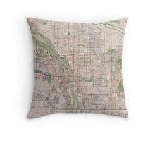 Vintage Map of Portland Oregon (1912) Throw Pillow