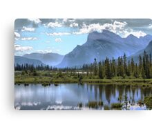 Vermillion Lake and Rundle Mountain Canvas Print