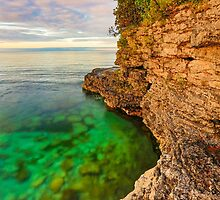 Rocky Coastline at Cave Point, Wisconsin by Kenneth Keifer