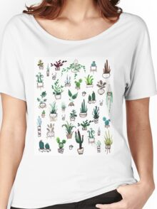 Succulent Plants Watercolor Women's Relaxed Fit T-Shirt