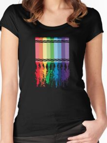 Spattered Crayons  Women's Fitted Scoop T-Shirt