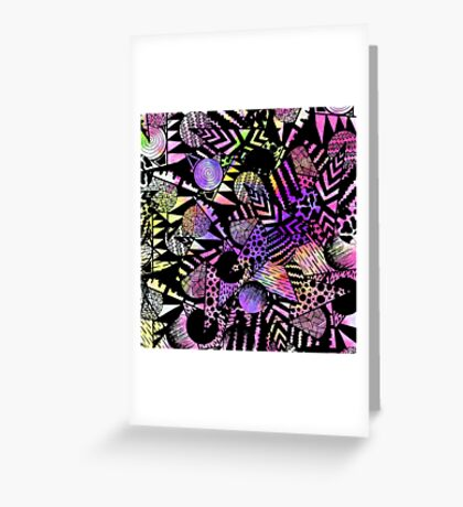 Geometric Retro Neon Watercolor Black Drawn Shapes Greeting Card