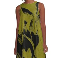 Black Flames on Olive fabric Pattern A-Line Dress
