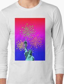 Statue Of Liberty Fireworks Long Sleeve T-Shirt
