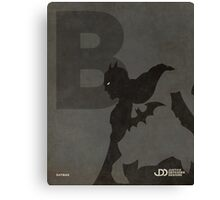 Batman - Superhero Minimalist Alphabet Print Art Canvas Print