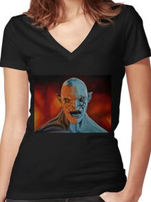 Azog The Orc Painting Women's Fitted V-Neck T-Shirt