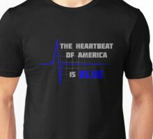 The Heartbeat of America is Blue Unisex T-Shirt