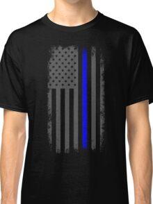 Vertical Thin Blue Line American Flag Classic T-Shirt