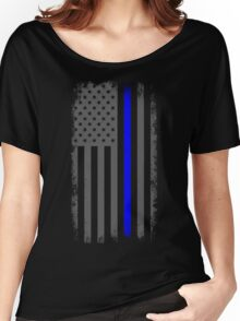 Vertical Thin Blue Line American Flag Women's Relaxed Fit T-Shirt
