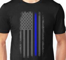 Vertical Thin Blue Line American Flag Unisex T-Shirt