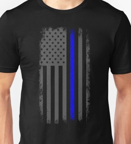 Vertical Thin Blue Line American Flag Unisex T-Shirt