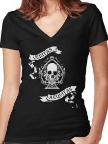Veritas/Aequitas White Women's Fitted V-Neck T-Shirt