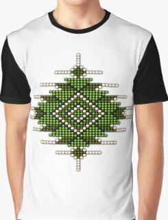 Green Native American-Style Sunburst Graphic T-Shirt