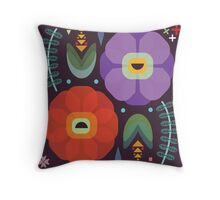 Flowerfully Folk Throw Pillow