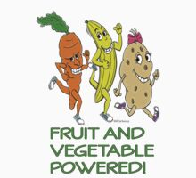 FRUIT AND VEGETABLE POWERED ATHLETE by Animal Welfare Cartoons