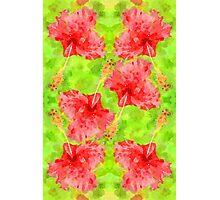 Watercolor Red Hibiscus Tropical Aloha Botanical Photographic Print