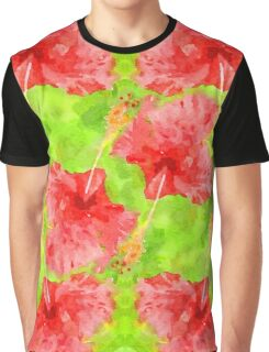 Watercolor Red Hibiscus Tropical Aloha Botanical Graphic T-Shirt