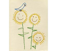 Embroidered Smiling Sunflowers Photographic Print