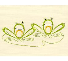Three Whimsical Embroidered Green Frogs Photographic Print
